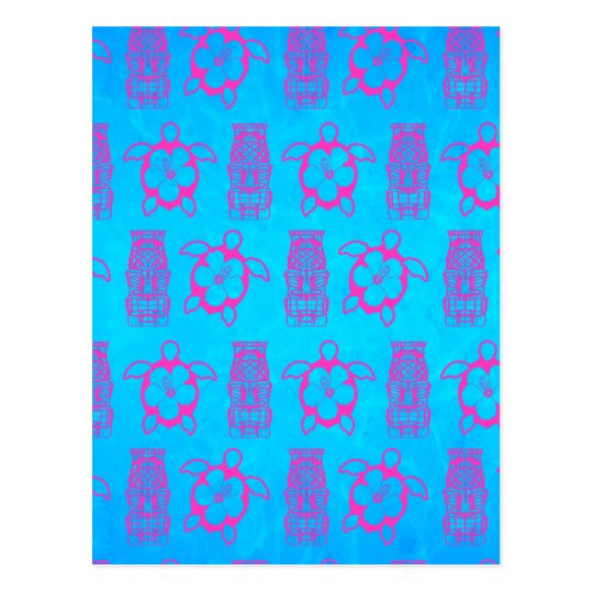 Pink Honu And Tiki Mask Postcard