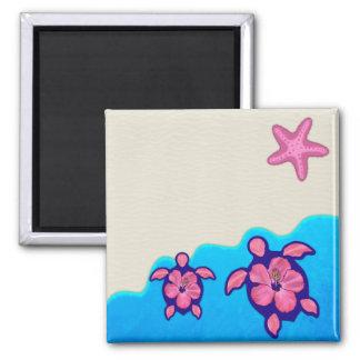 Pink Honu Turtles 2 Inch Square Magnet