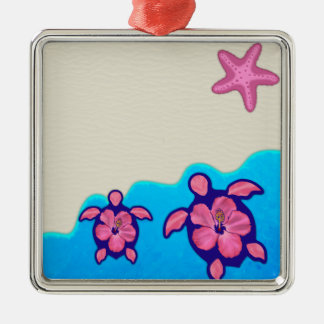 Pink Honu Turtles Metal Ornament