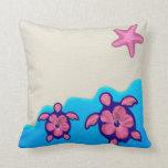 Pink Honu Turtles Throw Pillow