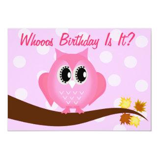 Pink Hoot Owl Birthday Party Invitation