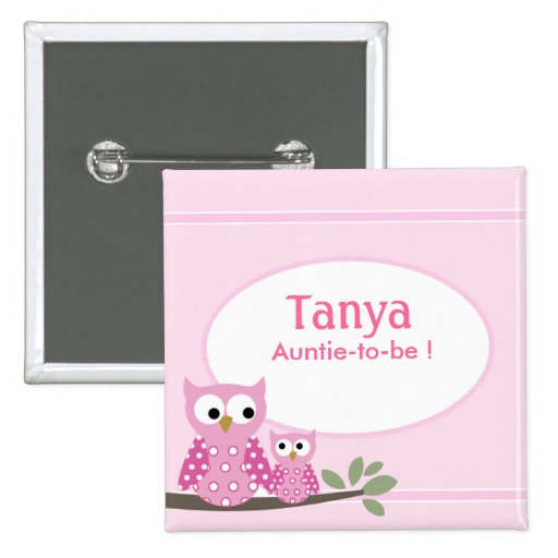 Pink Hoot Owls Baby Shower Name Tag Button