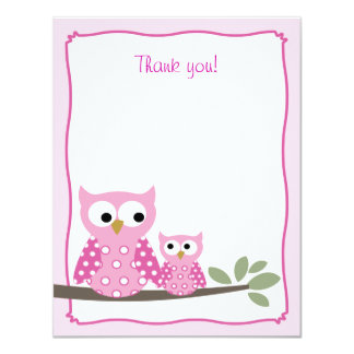 Pink Hoot Owls Flat Thank you note card Invitations