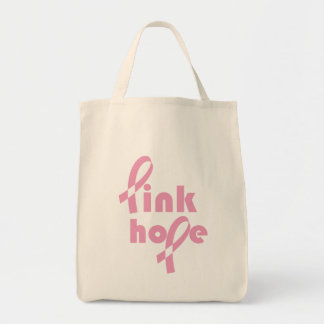 Pink Hope Ribbon Canvas Bag