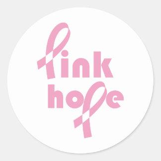 Pink Hope Ribbon Classic Round Sticker