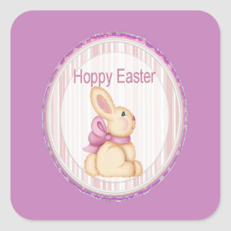 Pink Hoppy Easter Bunny Square Sticker