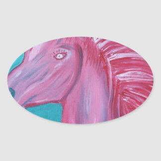 Pink Horse acrylic paint Oval Sticker