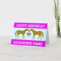 Pink Horse Age Birthday Card - Horse Age Card 3