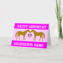 Pink Horse Age Birthday Card - Horse Age Card 6