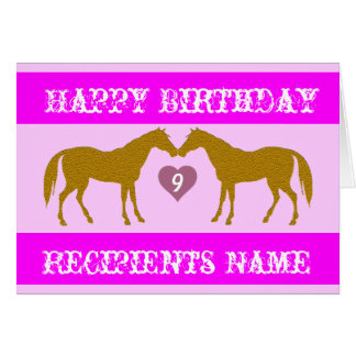 Pink Horse Age Birthday Card - Horse Age Card 9