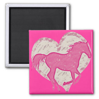 Pink Horse and Heart 2 Inch Square Magnet