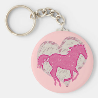 Pink Horse and Heart Basic Round Button Keychain