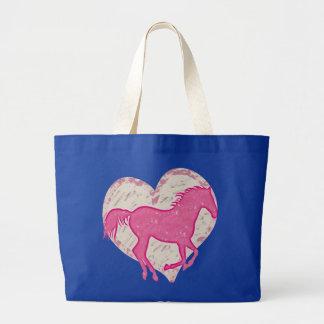 Pink Horse and Heart Jumbo Tote Bag