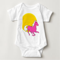 pink horse baby bodysuit