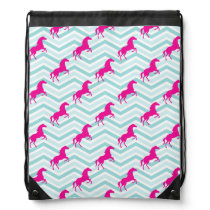 Pink Horse, Equestrian, Teal Green Blue Drawstring Backpack