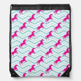 Pink Horse, Equestrian, Teal Green Blue Drawstring Backpack