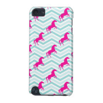 Pink Horse, Equestrian, Teal Green Blue iPod Touch (5th Generation) Case