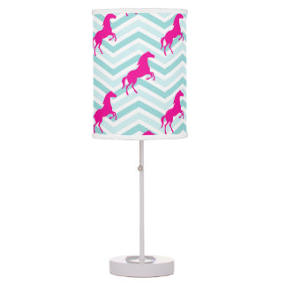 Pink Horse, Equestrian, Teal Green Blue Table Lamps