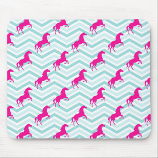 Pink Horse, Equestrian, Teal Green Blue Mouse Pad
