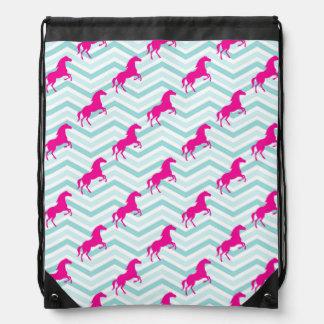 Pink Horse, Equestrian, Teal Green Blue Drawstring Bag