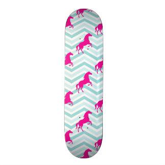 Pink Horse, Equestrian, Teal Green Blue Skate Board Deck