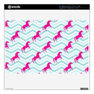 Pink Horse, Equestrian, Teal Green Blue Decals For MacBook