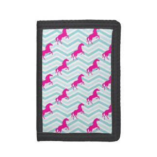 Pink Horse, Equestrian, Teal Green Blue Trifold Wallets