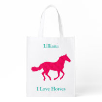 """Pink Horse """"I Love Horses"""" Reusable Grocery Bag"""