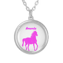 Pink Horse Necklace with Name