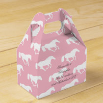 Pink horse or pony equestrian themed wedding favor box