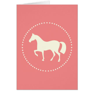 Pink horse silhouette greeting card (vertical)