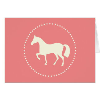 Pink horse silhouette greeting cards (horizontal)