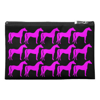 Pink Horses on Black Travel Accessory Bag