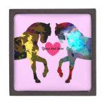 Pink Horses Personalized Trinket Box Premium Gift Box