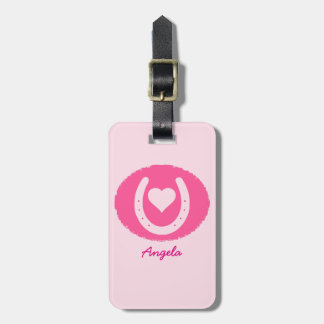 Pink Horseshoe and Heart Luggage Tag