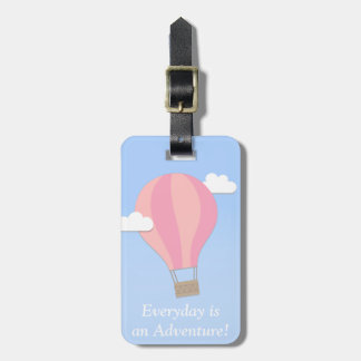 Pink Hot Air Balloon, Adventure Among the Clouds Bag Tag