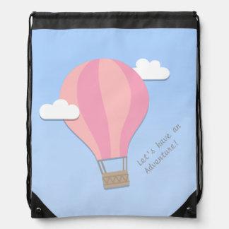 Pink Hot Air Balloon, Adventure Among the Clouds Drawstring Bag