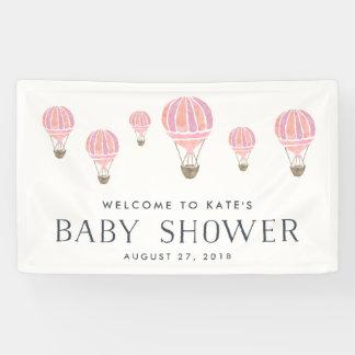 Pink Hot Air Balloon Baby Shower Banner