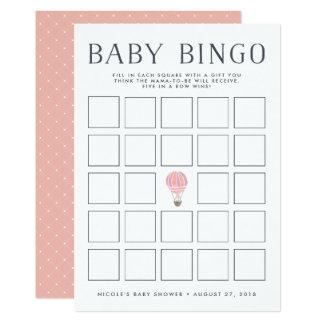 Pink Hot Air Balloon | Baby Shower Bingo Game Card