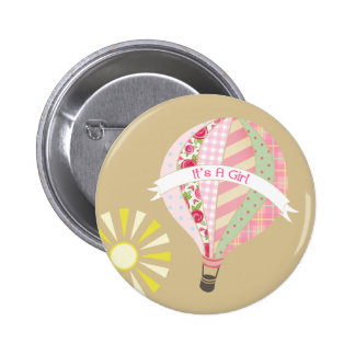 Pink Hot Air Balloon Baby Shower Button