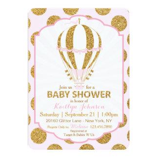 Pink Hot Air Balloon Baby Shower Card