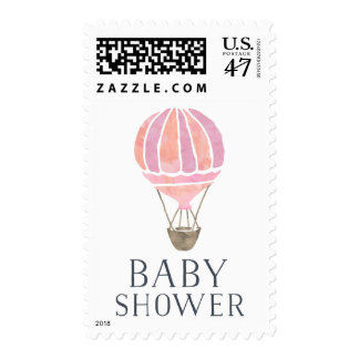 Pink Hot Air Balloon Baby Shower Postage