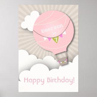 Pink Hot Air Balloon Birthday Poster