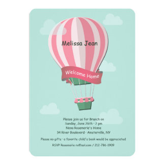 Pink Hot Air Balloon Blue Background Invitation
