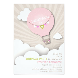 Pink Hot Air Balloon & Clouds Girl's Birthday 5x7 Paper Invitation Card