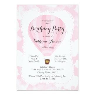 Pink Hot Air Balloon Girl Birthday party Card