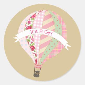 Pink Hot Air Balloon It's A Girl Sticker