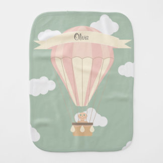 Pink hot air balloon personalized burp cloth