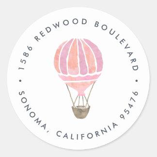 Pink Hot Air Balloon Return Address Classic Round Sticker