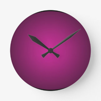 Pink Hot Pink and Black Plainly 3D Customizable Round Clock